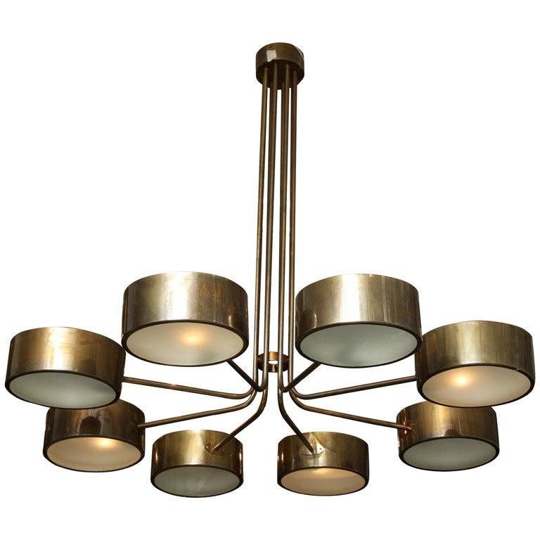 Vintage Stilnovo 8-Light Brass Chandelier For Sale