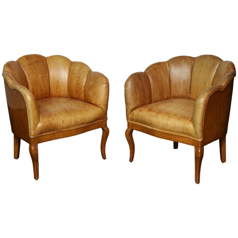 Pair of Vintage Leather Channel Back Petite Chairs For Sale