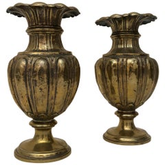 Pair of Gilded Metal Vases