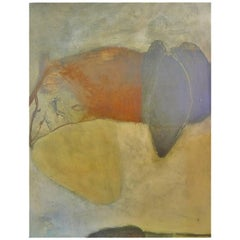 Signed Large Abstract Oil, Wax, and Shellac on Board Painting by Russell DeYoung
