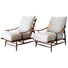 Pair of Mid-Century Modern Style Lounge Chairs with Stone Washed Linen Cushions