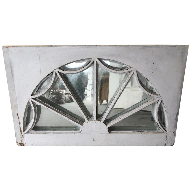 Vintage Federal style Palladium mirrored window. Great piece for that shabby chic household. Great above a mantel or foyer table or above a bed. Chippy paint and rustic wear gives this piece personality. Repaint any color you want if you don't like