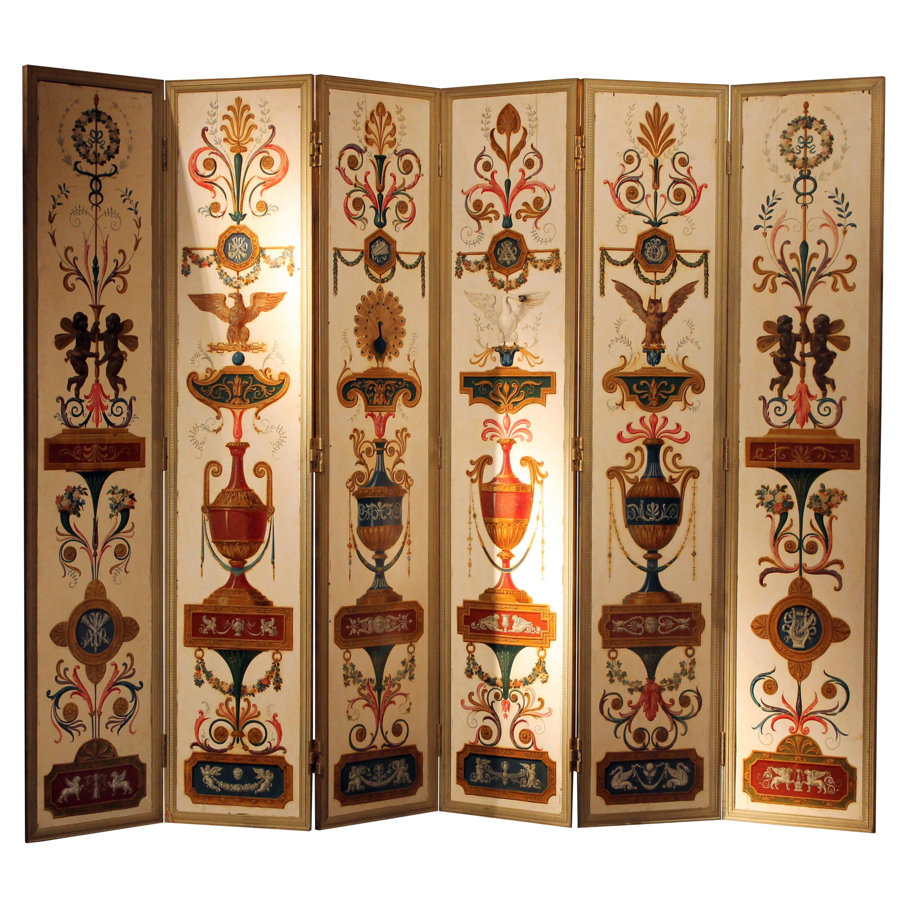 19th Century Italian Six-Panel Painted Wood Folding Screen in Gilt Bronze Frame