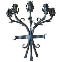 Heavy Hand Wrought Iron Wall Sconce