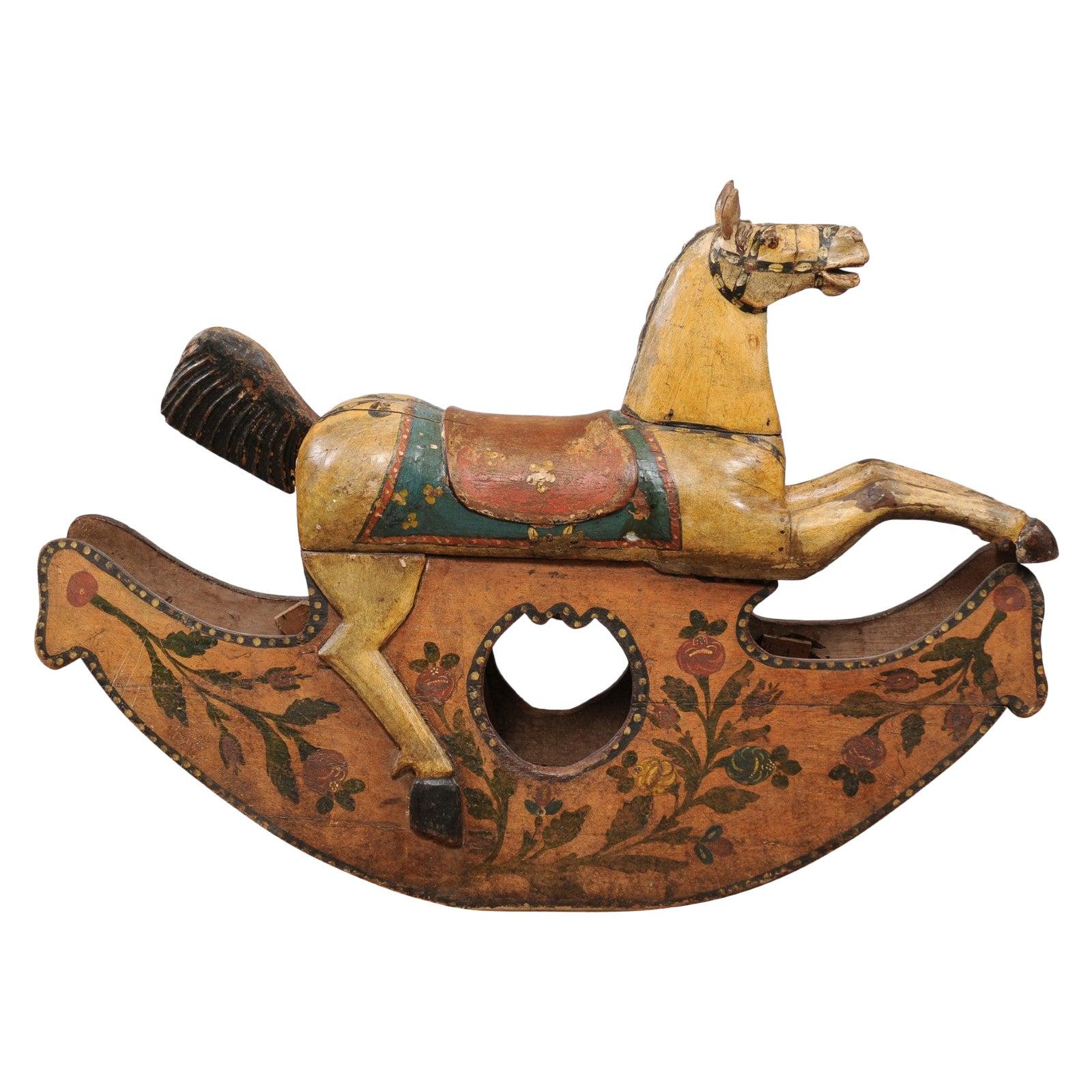19th Century Italian Painted Wood Rocking Horse