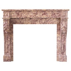 Louis XVI Style Pink Brocatello Fireplace