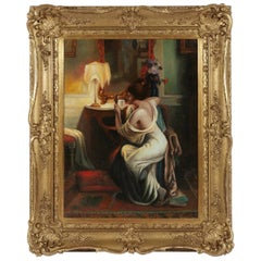Oil on Canvas 'Lady in Boudoir' by Delphin Enjolras