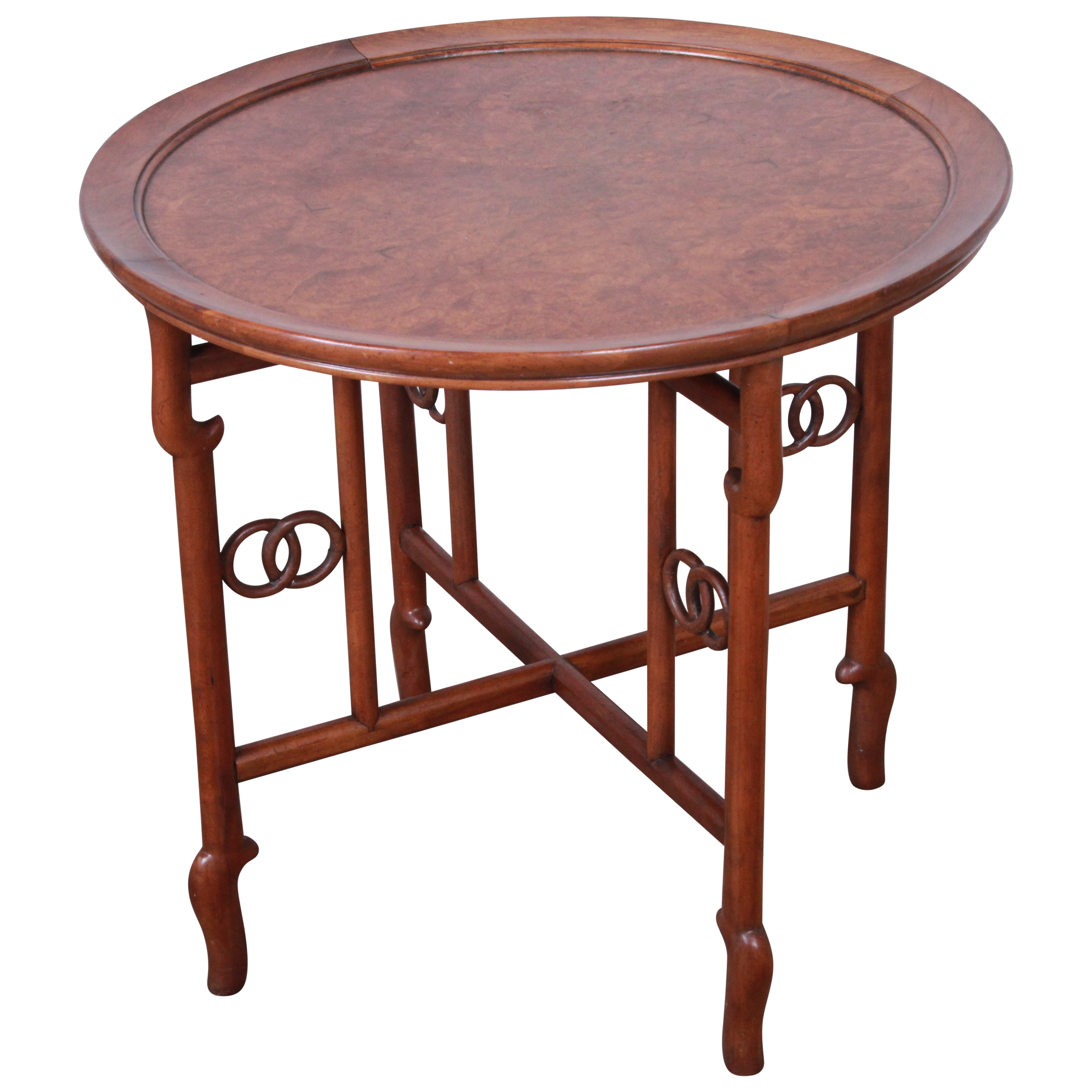 Michael Taylor Baker Far East Collection Walnut and Burl Wood Occasional Table