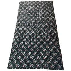 Huge Antique Black French Cross Stitch Wool Carpet Madeleine Castaing
