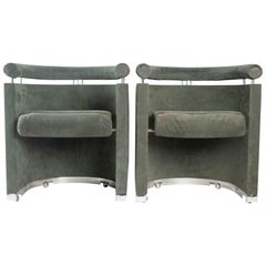 Pair of Armchairs, 1980, Italy, Metal and Swedine
