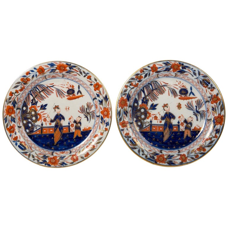 Pair English Imari Dishes Made by Davenport For Sale