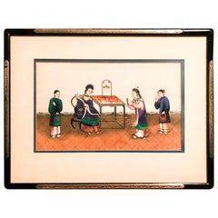 Late 19th Century Chinese Canton School, Framed Pith Paper Export Painting
