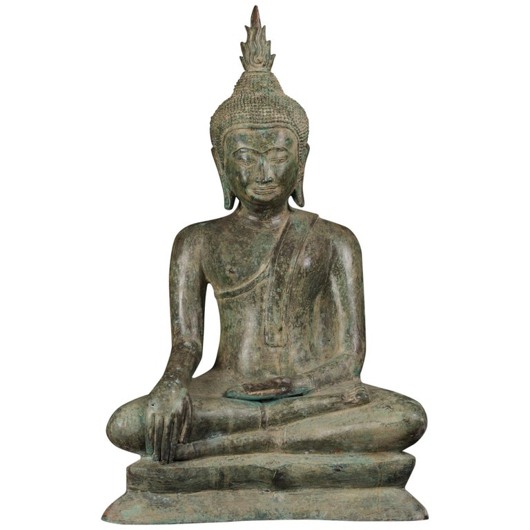 Large Antique Bronze Earth Enlightened Buddha Serene Downcast Eyes, 19th Century For Sale