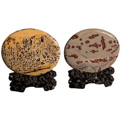 Extraordinary Pair of Natural Viewing Stones, Collectors Delight