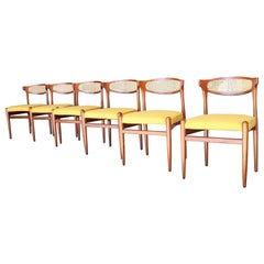 Set of Six Danish Modern Cane Back Dining Chairs