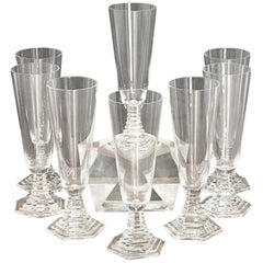 """Eight Art Deco Baccarat """"Orsay"""" Champagne Flutes"""