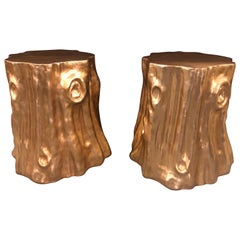Pair of Gold Nature-Inspired Tree Trunk End Tables or Stools
