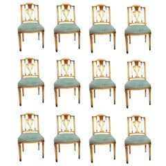 Fine Set of 12 Regency Painted Dining Chairs in the Manner of Maison Jansen
