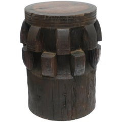 Antique Wooden Gear with Design and Cutouts Table or Stool