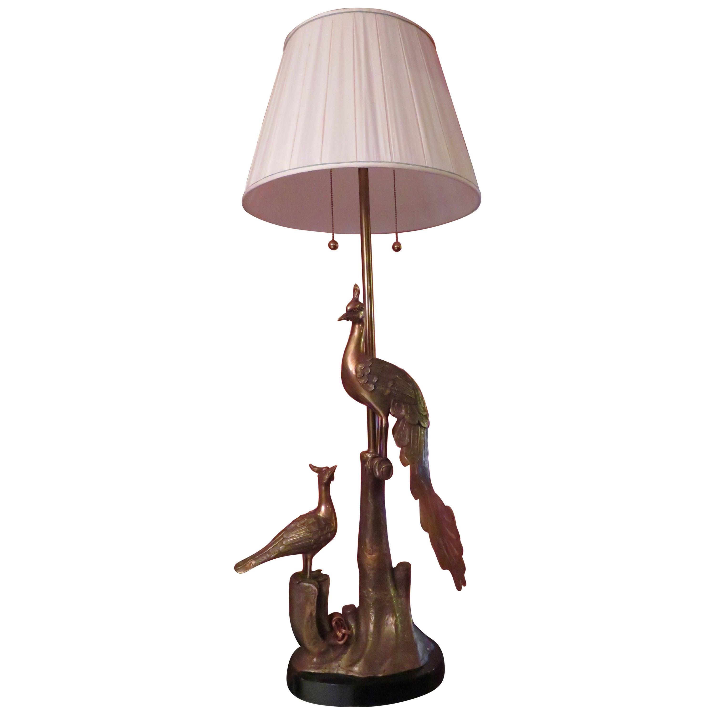 Stunning Marbro Brass Peacock Form Table Lamp Mid-Century Modern