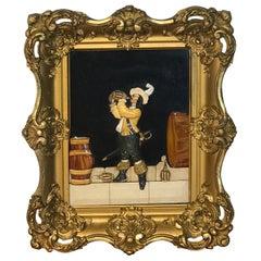 Antique Florentine Raised Pietra Dura Plaque of a Drinking Cavalier After Vinea