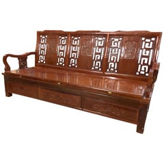 Asian Bench Carved Wood Expandable Daybed Platform Bed Settee