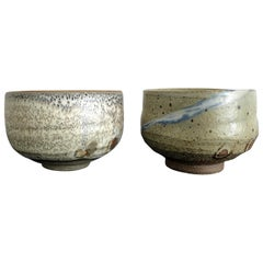 Set of Two Zen Tea Bowls Chawan by Makoto Yabe