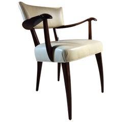 Paolo Buffa Dining Chairs Mahogany and Leather Italian, Midcentury, 1930s