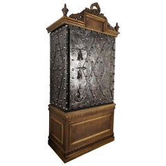 18th Century Italian Wrought Iron Hobnail Antique Safe Dry Bar Watch Cabinet
