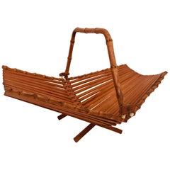 Midcentury Japanese Folding Bamboo Basket with Handle