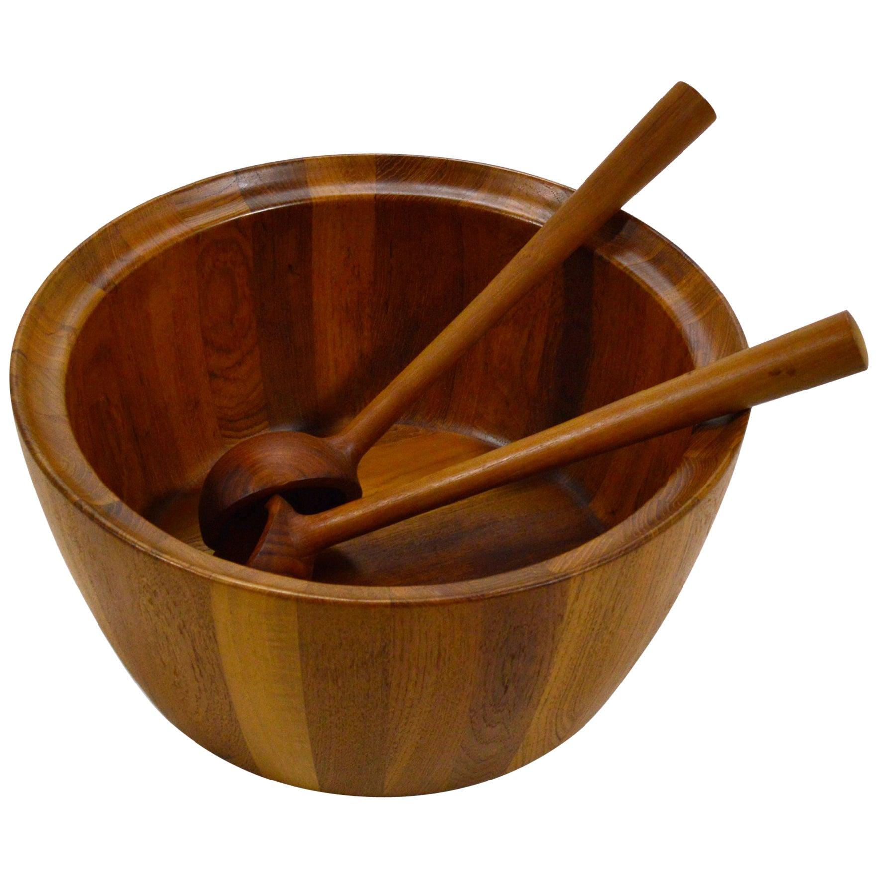 Oversize Staved Teak Bowl and Servers by Richard Nissen
