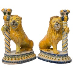 Pair of Antique Faience Lions