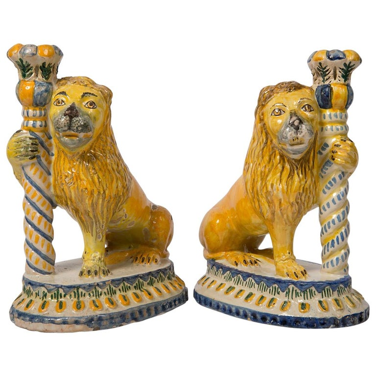 Pair of Antique Faience Lions 1