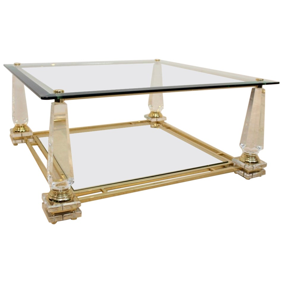 Extraordinary Lucite, Brass and Glass Obelisk Coffee Table, 1970s