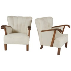 Pair of Large Danish 1940s Oak Frame Club Chairs