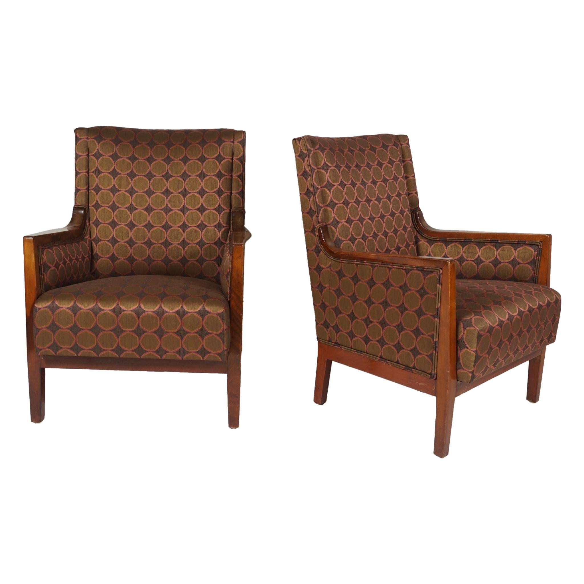 Pair of Danish 1920s-1930s Mahogany Bergeres