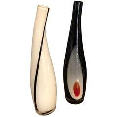 Zwei Mitte des Jahrhunderts Modern Murano-Glas-Flasche-Vasen, ca. 1970