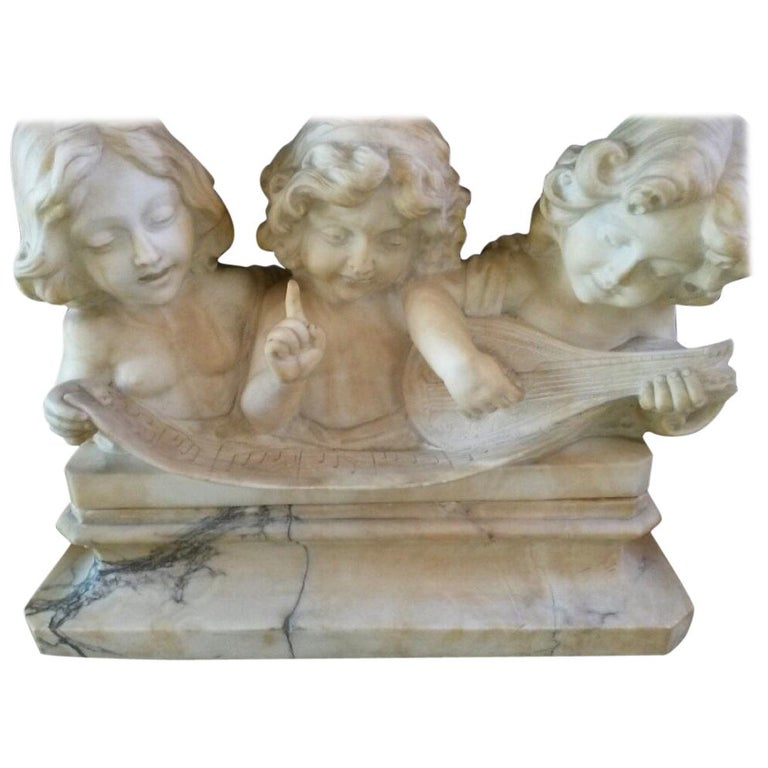 Adolfo Cipriani Carved Marble Musical Sculpture of Three Children Singing For Sale