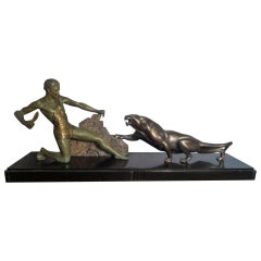 Outstanding Original Art Deco Bronze Study of Hunter and Panther by J Brault