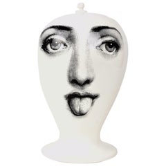"""Piero Fornasetti Black on White Vase with Lid """"Unpleasant"""" Collection"""
