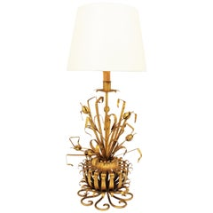 Chanel Style Foliage Floral Table Lamp in Gilt Iron