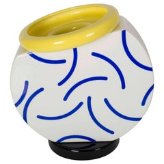 """Memphis Martine Bedin Vase in White, Blue and Yellow """"Cucumber"""""""