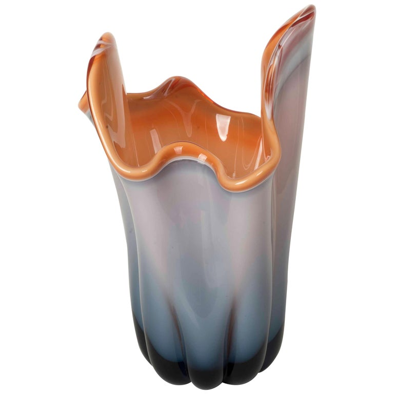 Modernist Vase in Molded Glass in a Gradient of Grey, Blue and Orange For Sale