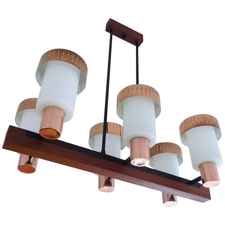 Large Mid Century Danish Modern Wooden Copper Pendant Light Chandelier 1960s