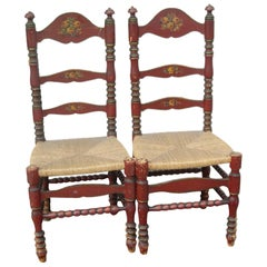 2 Portuguese Painted Ladder Back Side Chairs with Rush Seat and Flower Motif