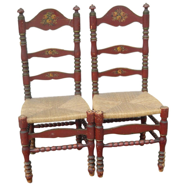 2 Portuguese Painted Ladder Back Side Chairs with Rush Seat and Flower Motif For Sale