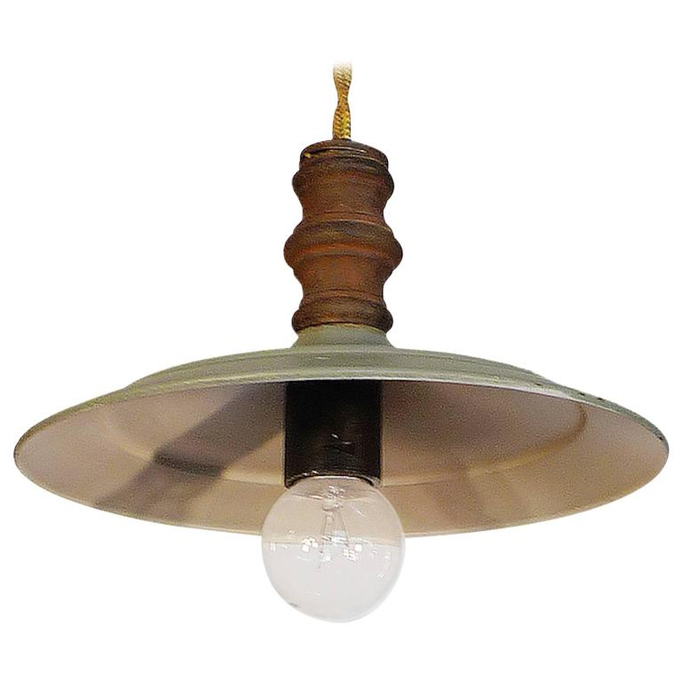 Three French 1950s Industrial Pendant Light For Sale At