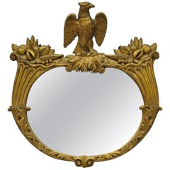 Antique Gold Gilt Gesso Federal Style Wall Mirror with Eagle and Cornucopia
