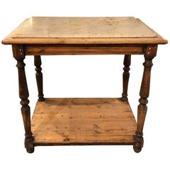 19th Century French Rustic Two-Tier Oak Pastry Table with Resting Marble Top