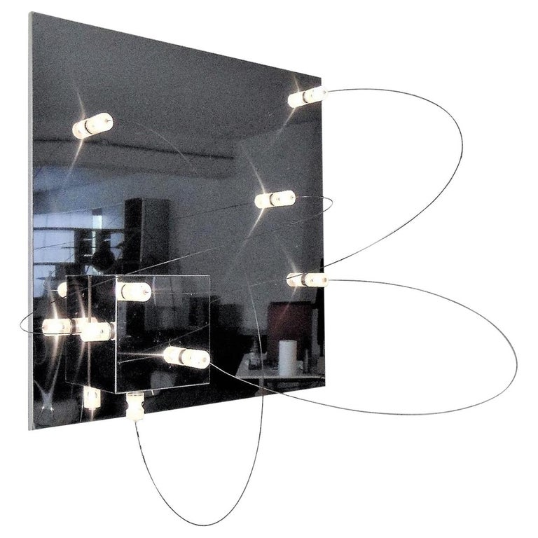 Wall Lamp Bt1 Polished Steel Lucite a.R.D.i.T.i., by Sormani Nucleo, Italy, 1972 For Sale